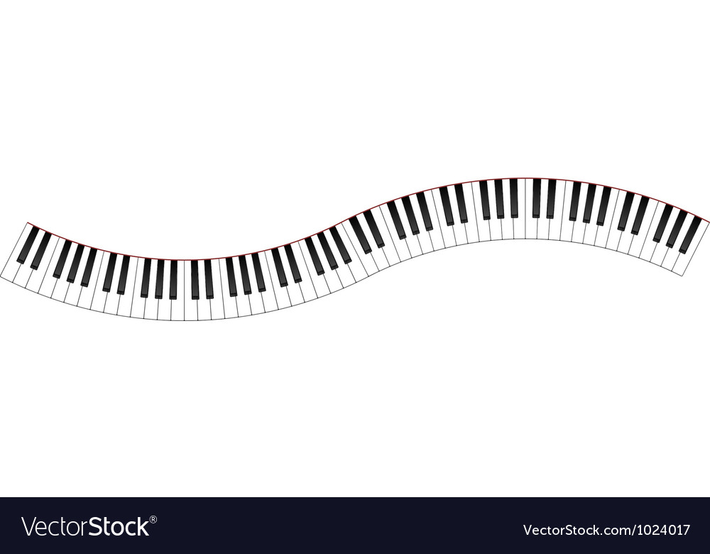Curved piano keyboard vector