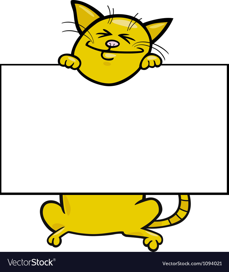 Cartoon cat with board or card vector by igor zakowski image