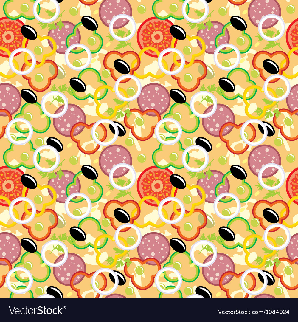 Seamless pizza pattern vector