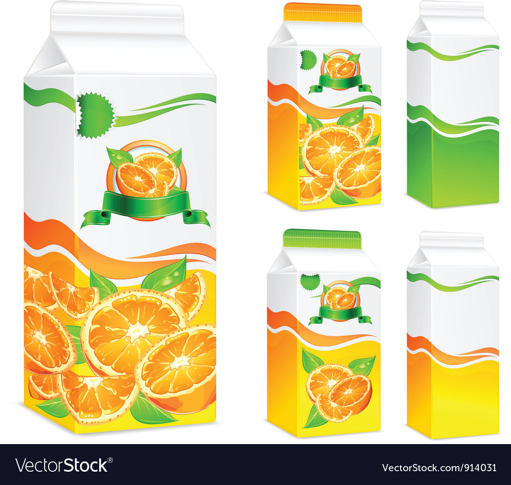 Five packages orange juice vector