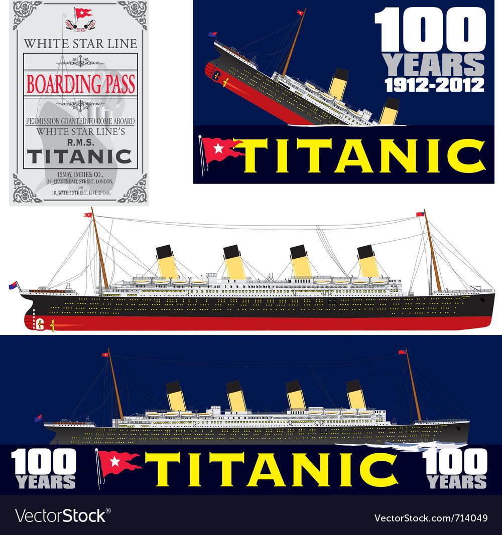 Titanic 100 years anniversary vector