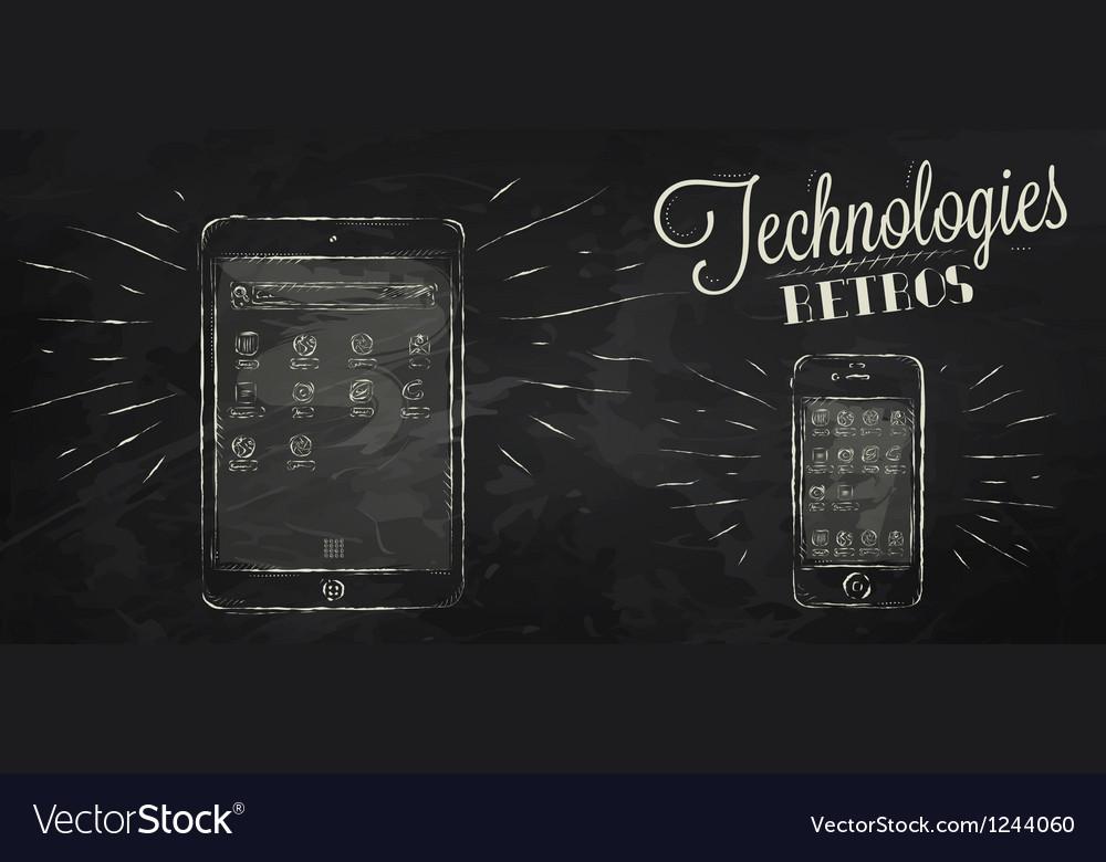 Ipad iphone chalk icons vector