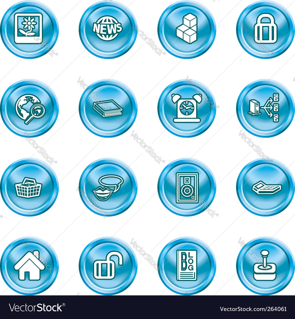 Internet and computing media icons vector