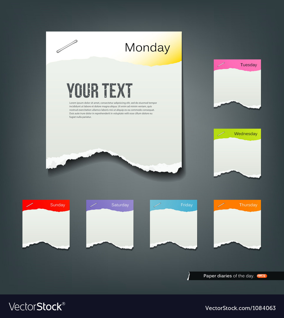 Colorful ripped paper note of the day background vector