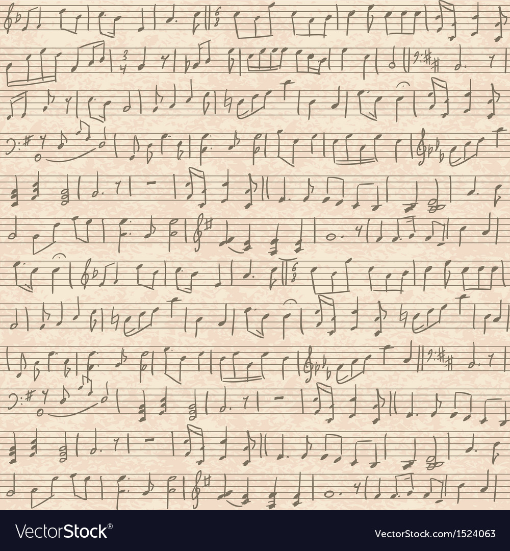 Seamless old cardboard texture with music notes vector