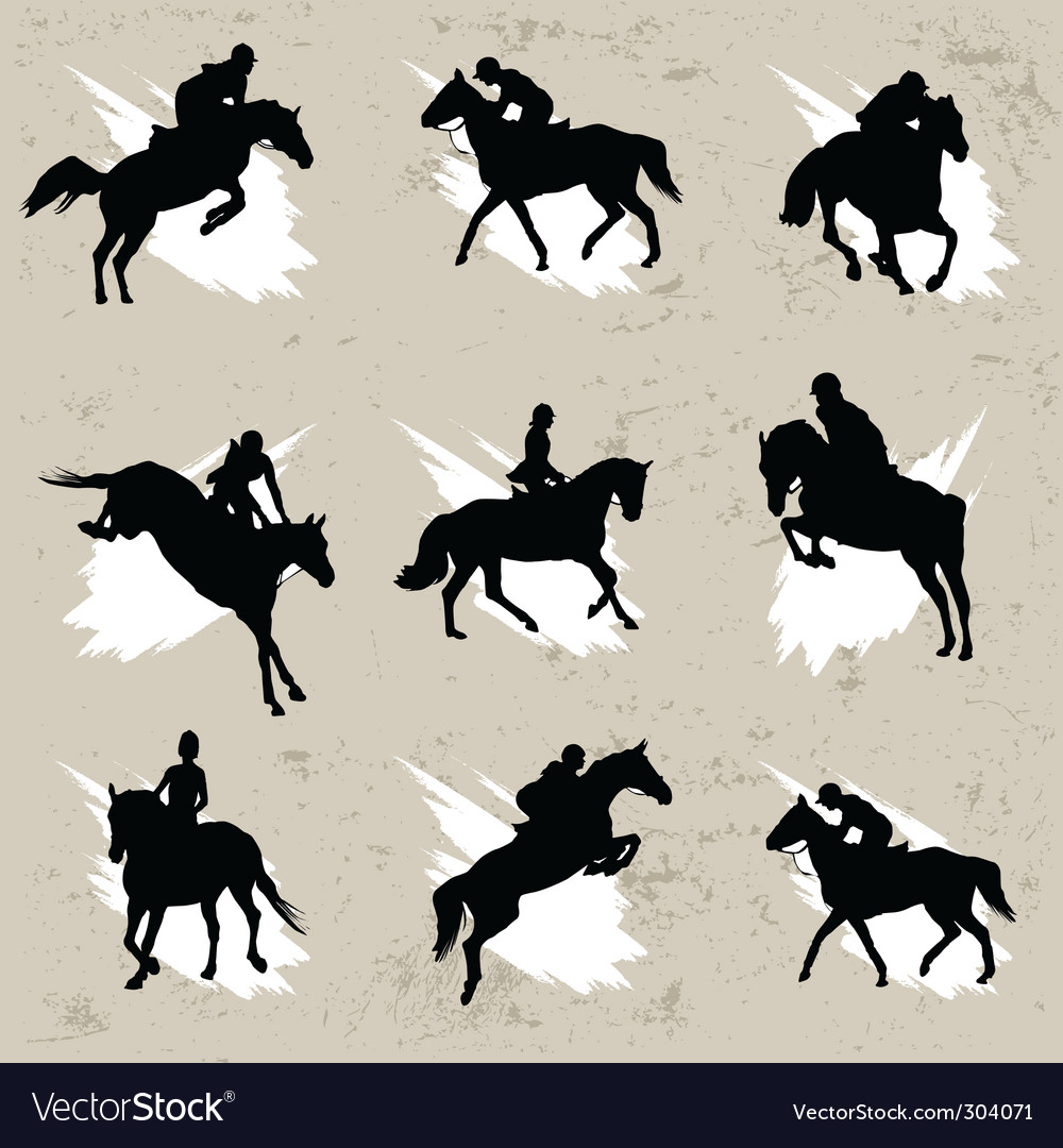 Horse with jockey vector