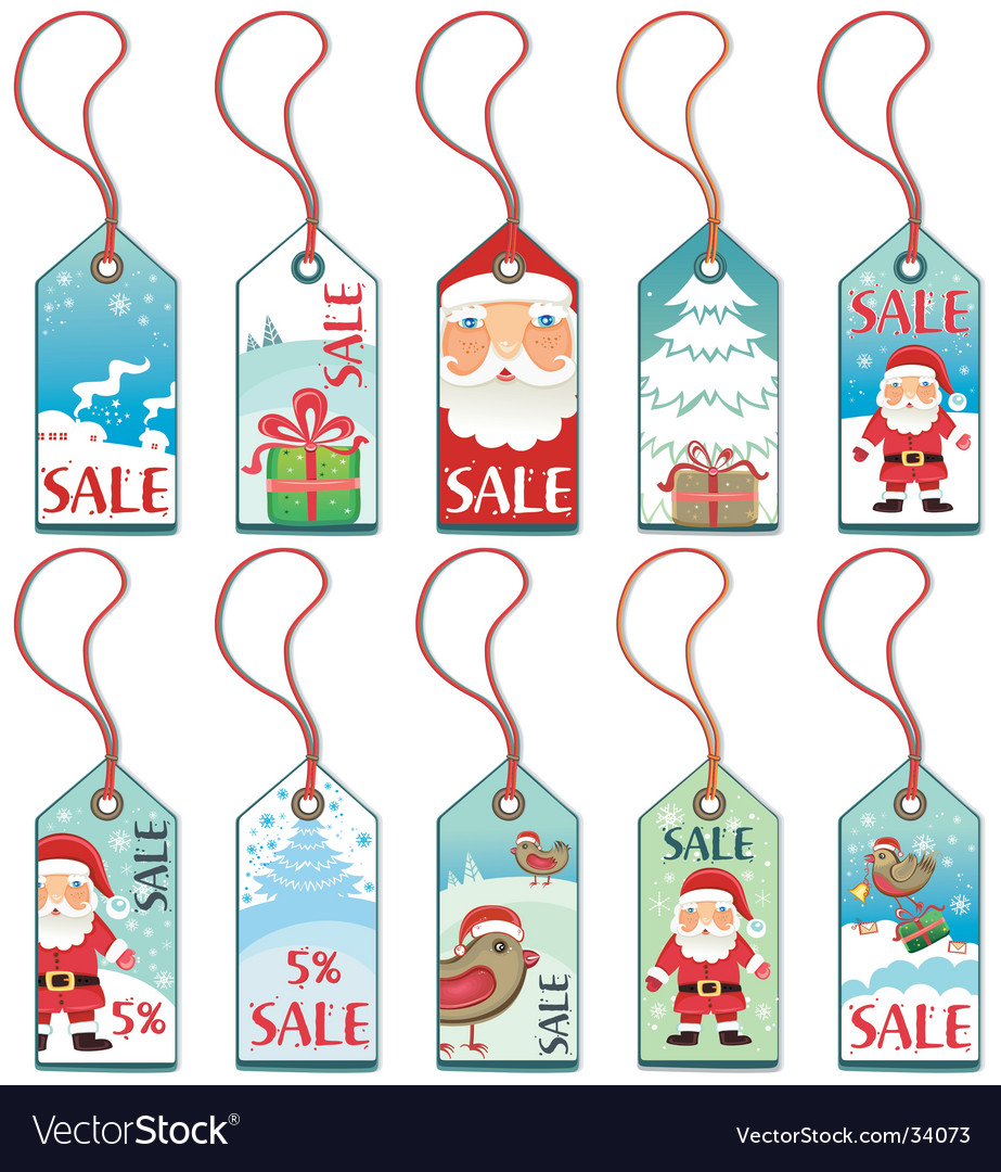 Christmas tags vector by Dianka - Image #34073 - VectorStock