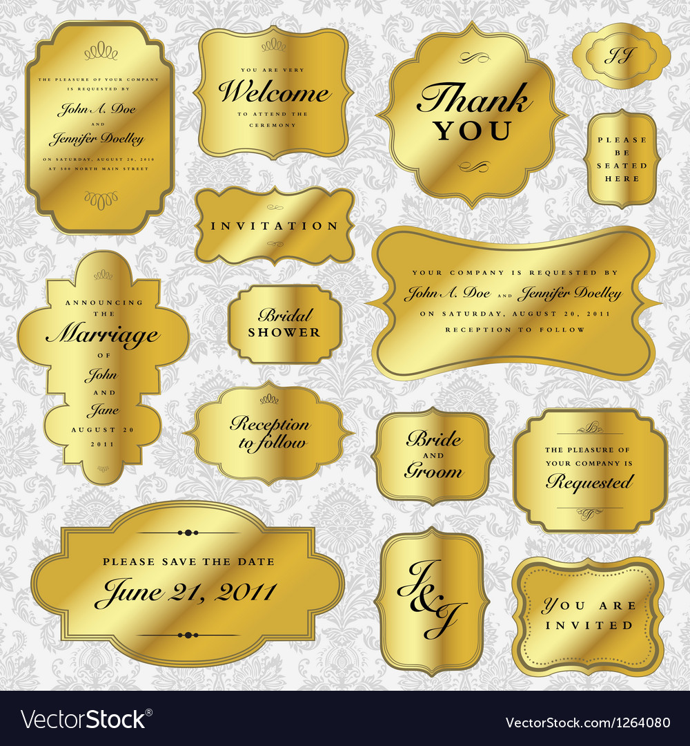 Gold wedding label set vector