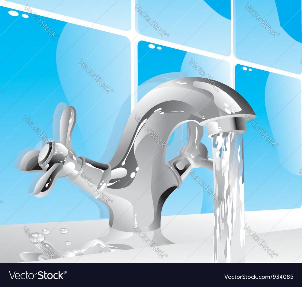 Metal water tap vector
