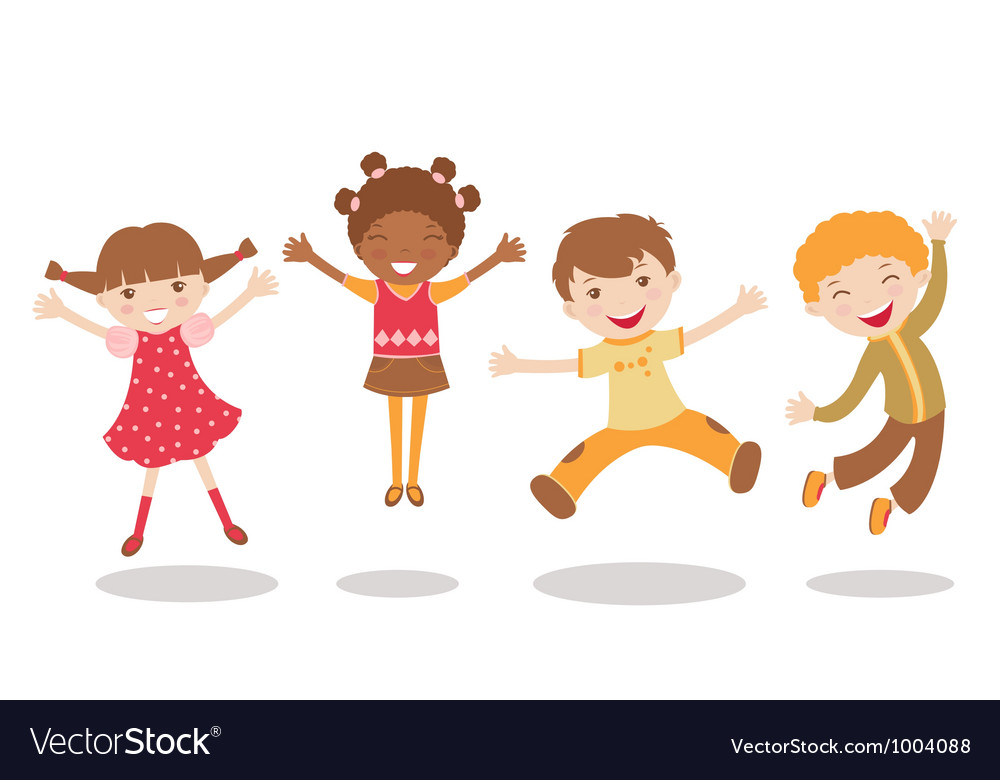 Jumping kids vector