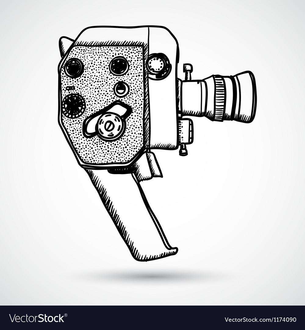 Doodle vintage movie camera vector