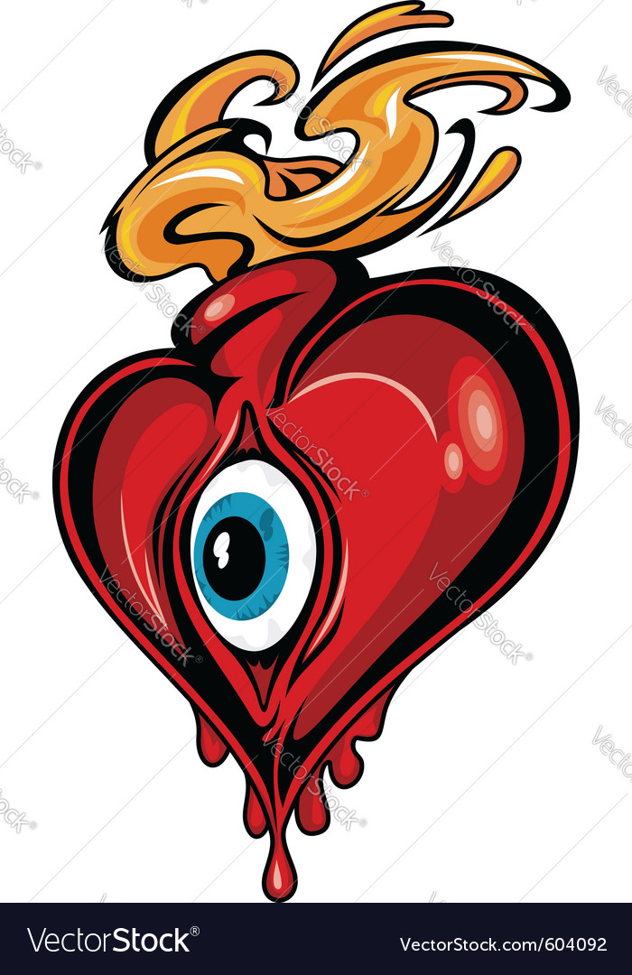 Heart tattoo design vector
