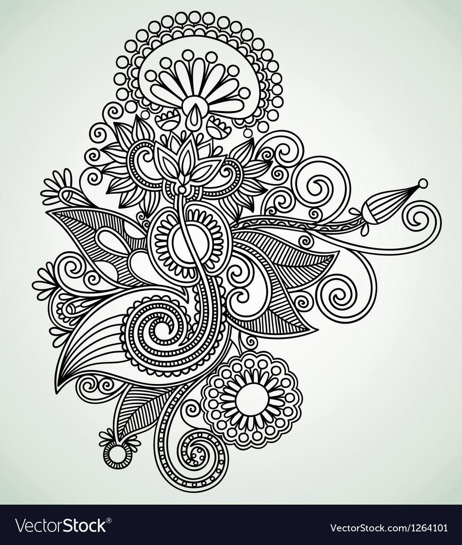 Hand draw line art ornate flower design ukrainian vector