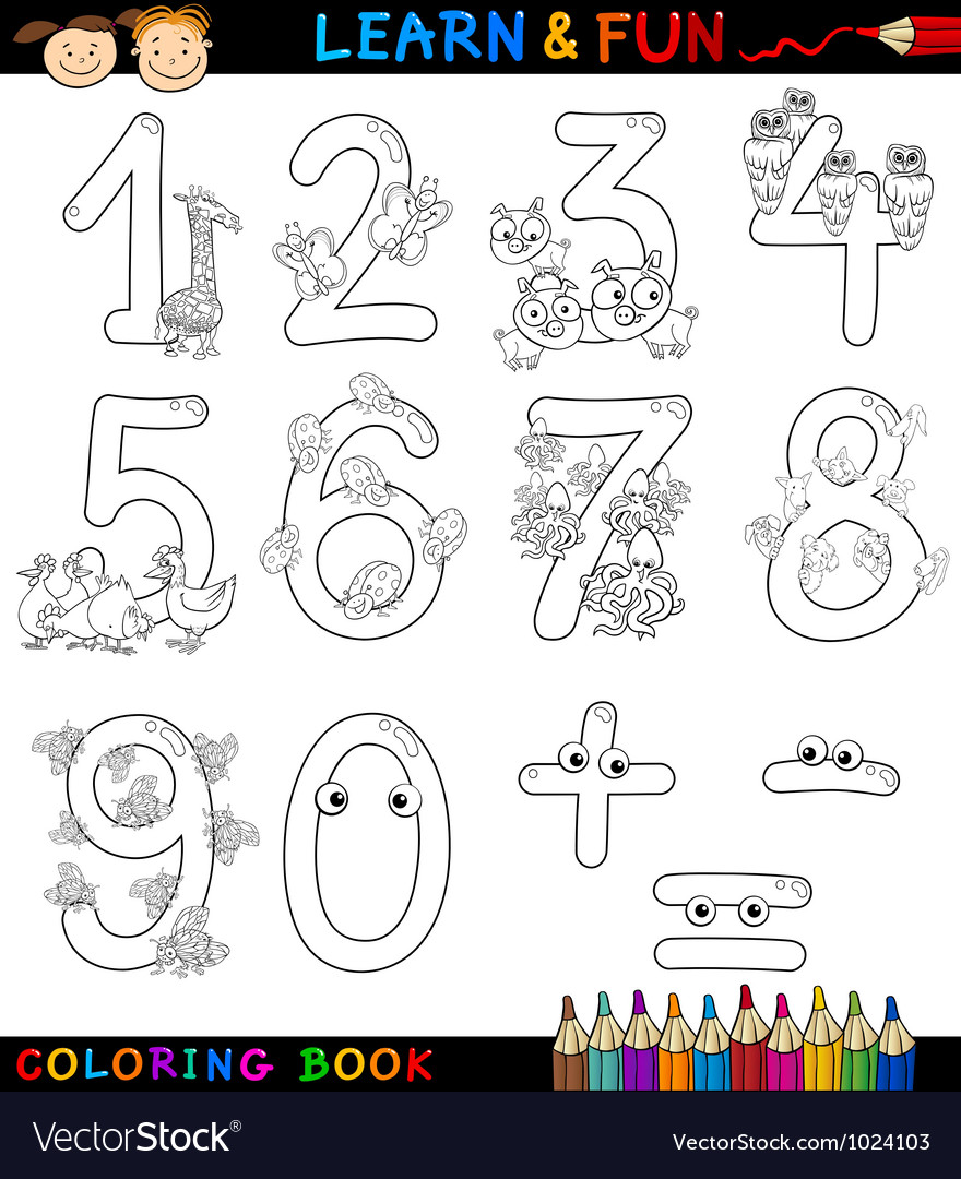 Numbers with cartoon animals for coloring vector