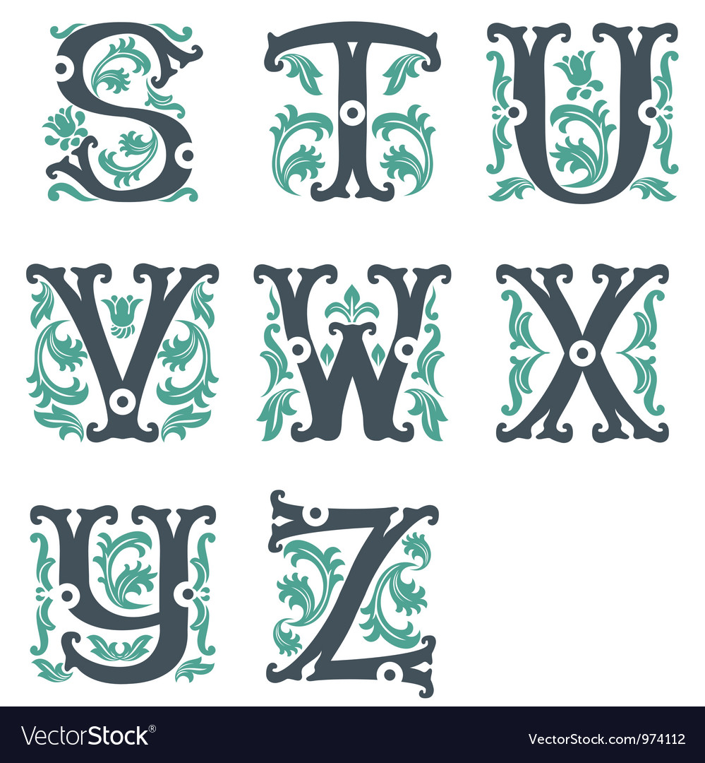 Vintage alphabet part 3 vector