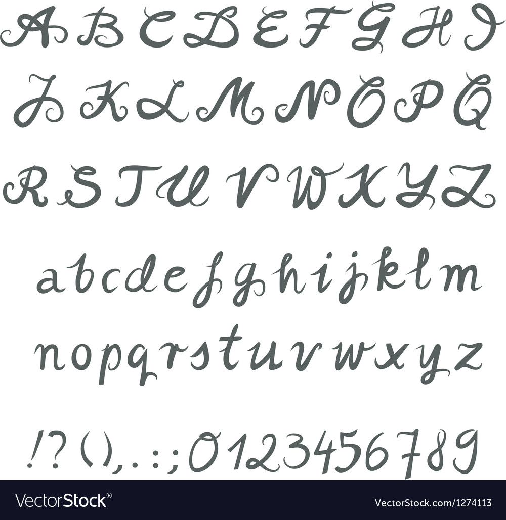 Hand drawn font set vector