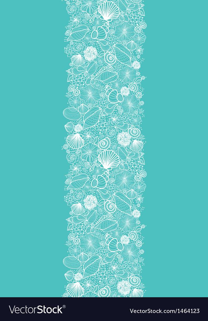 Blue seashells line art vertical seamless pattern vector