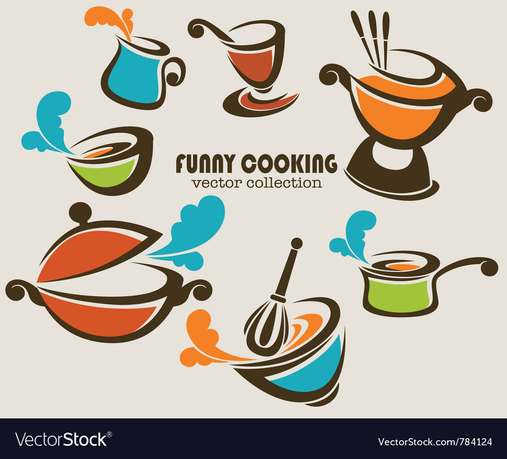 Funny cooking objects vector