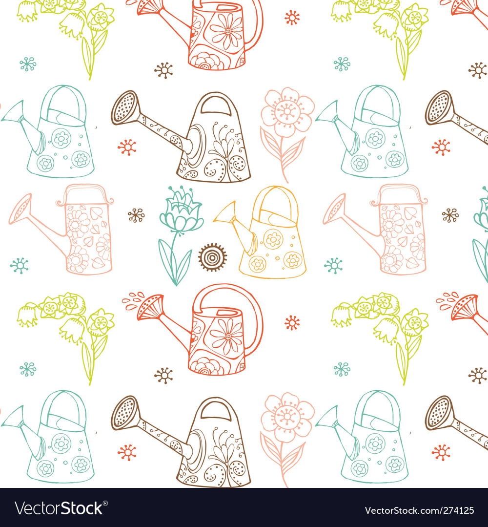 Watering cans seamless pattern vector