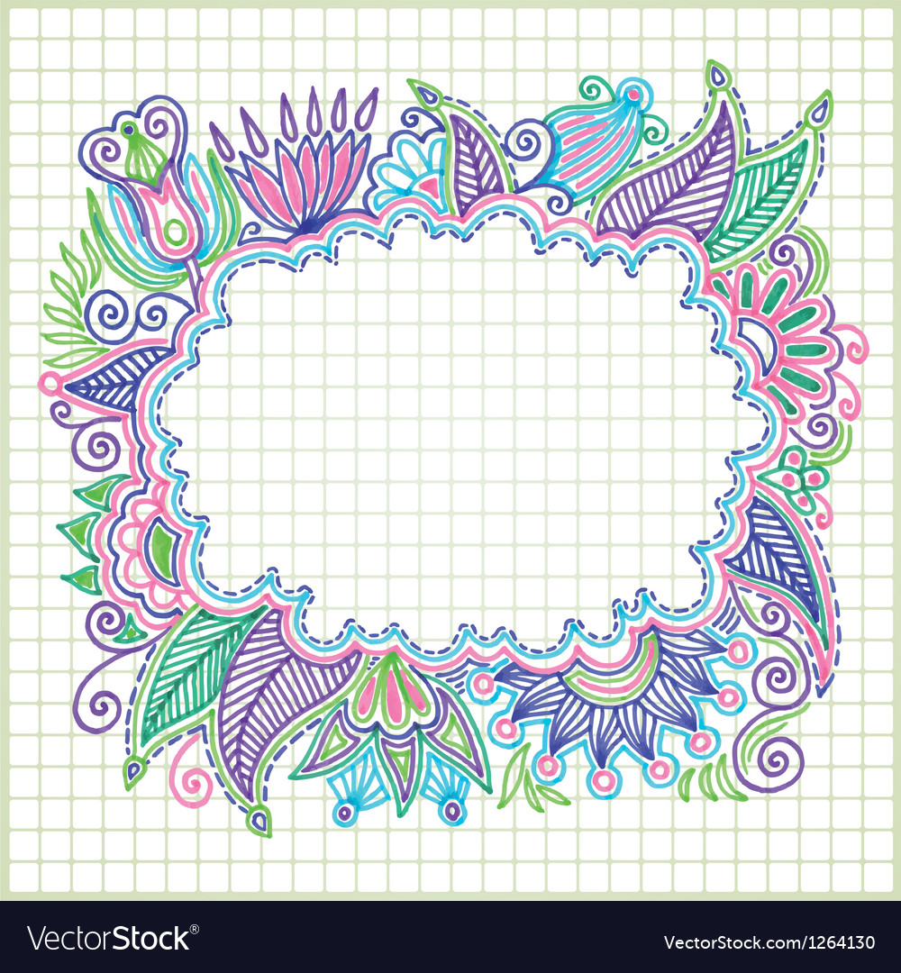 Hand draw doodle frame element vector