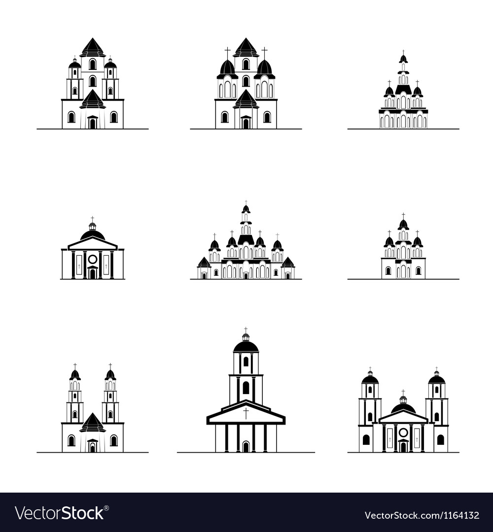 Silhouettes of different churches vector