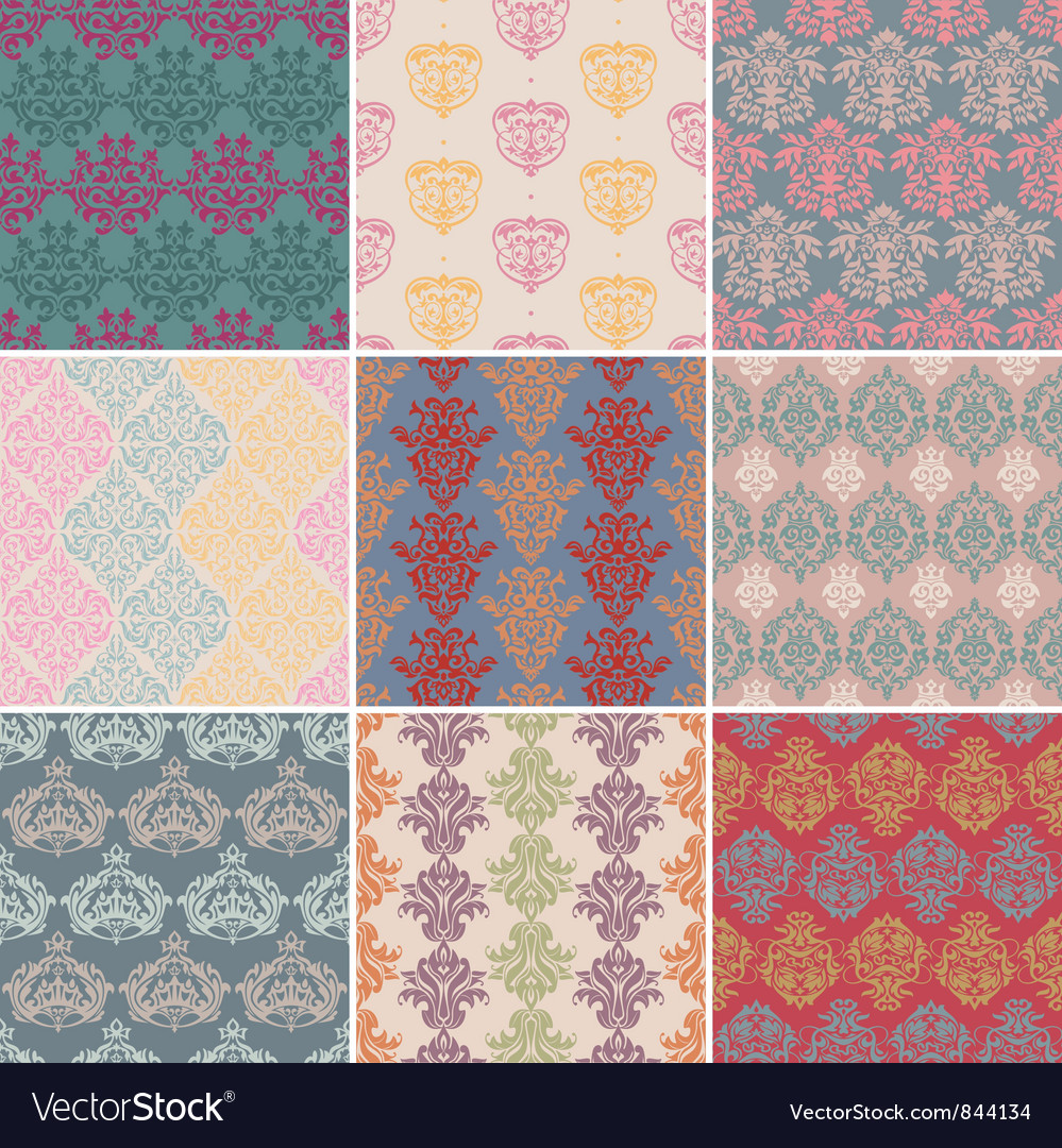 Set of seamless retro background vector