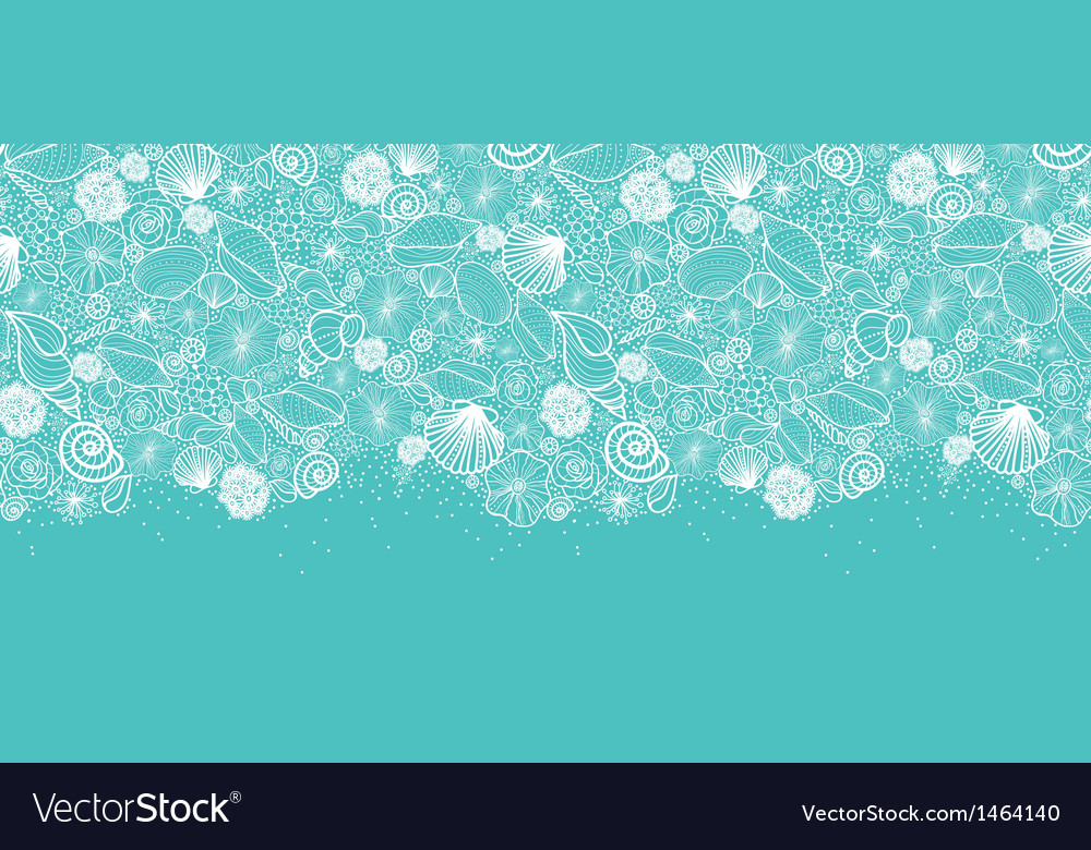 Blue seashells line art horizontal seamless vector