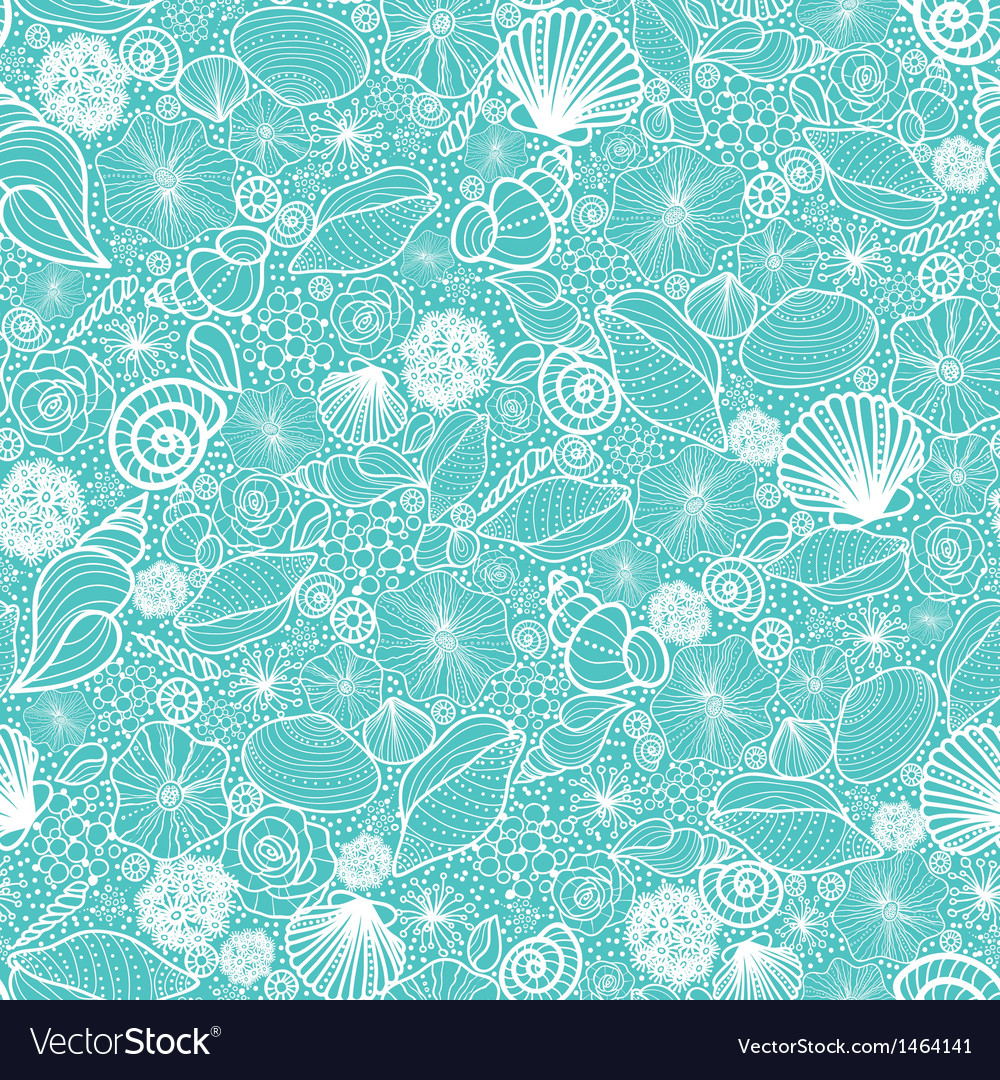 Blue seashells line art seamless pattern vector