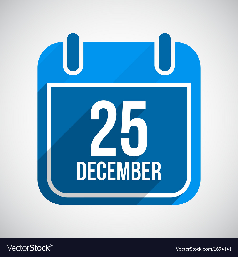 December 25 calendar icon flat icon with long vector