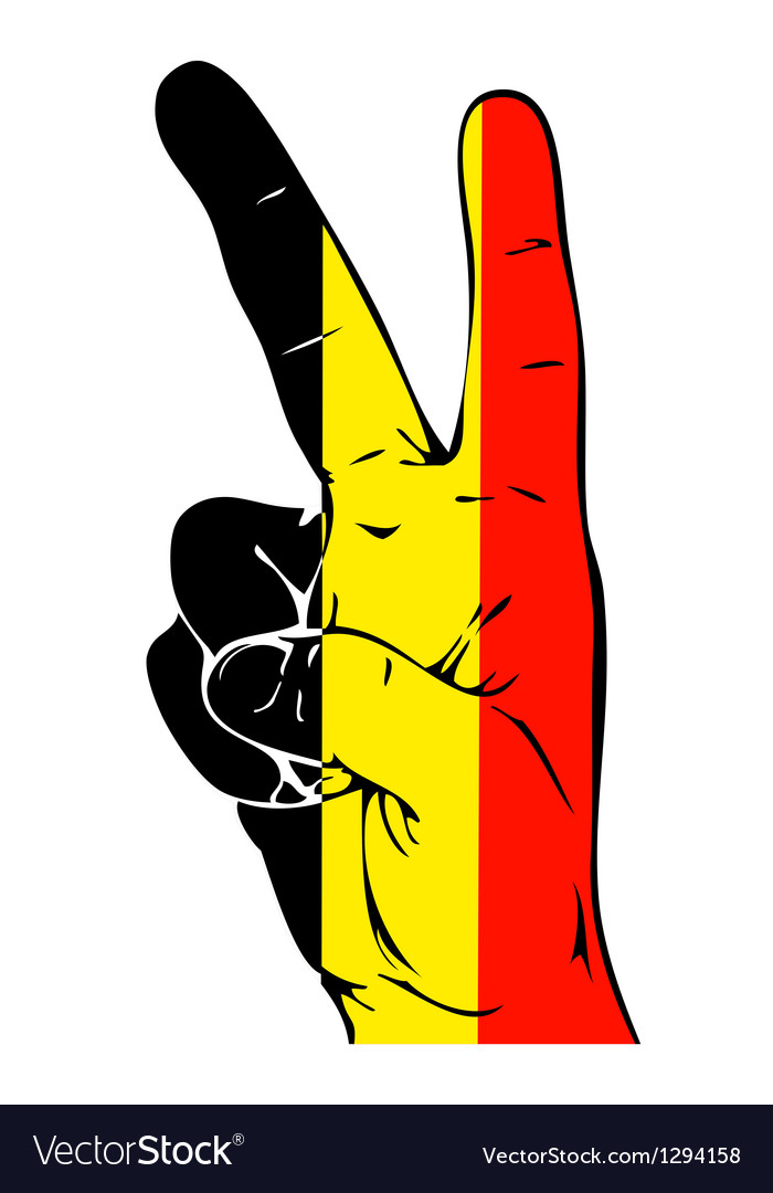 Peace sign of the belgian flag vector