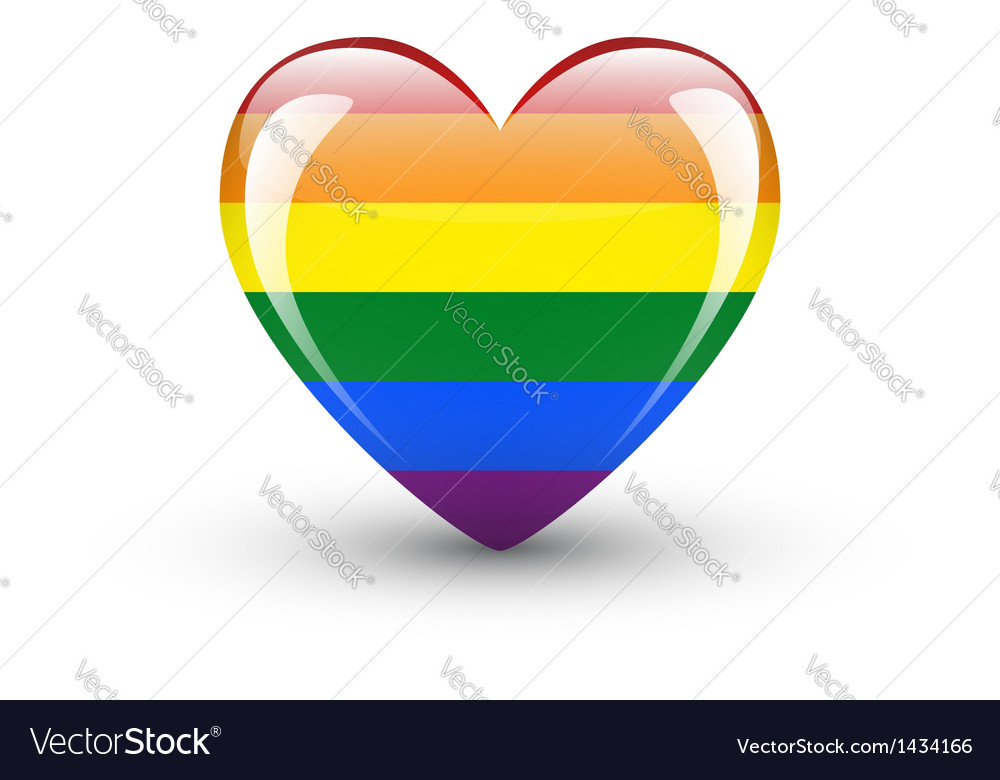Heart-shaped icon with rainbow flag vector