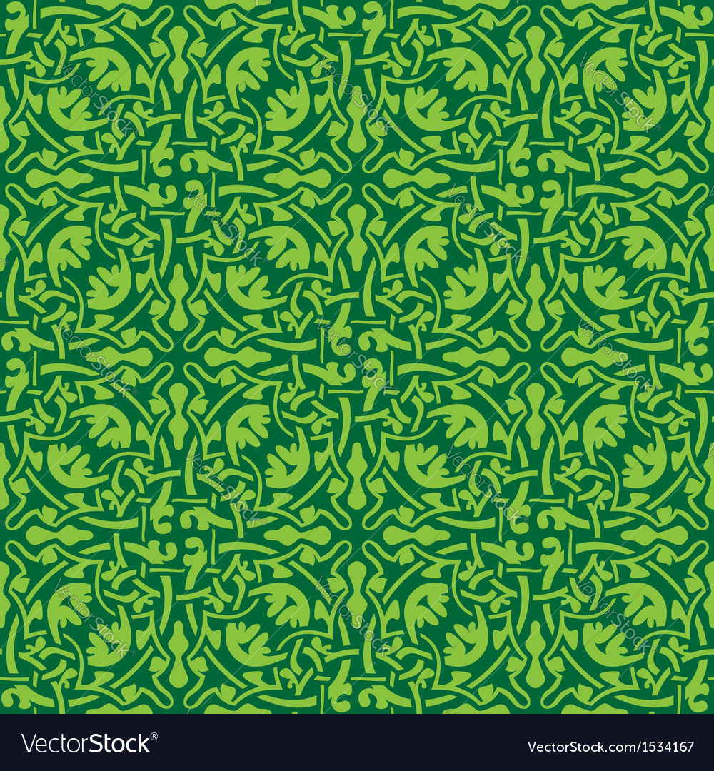 Green floral seamless wallpaper pattern vector