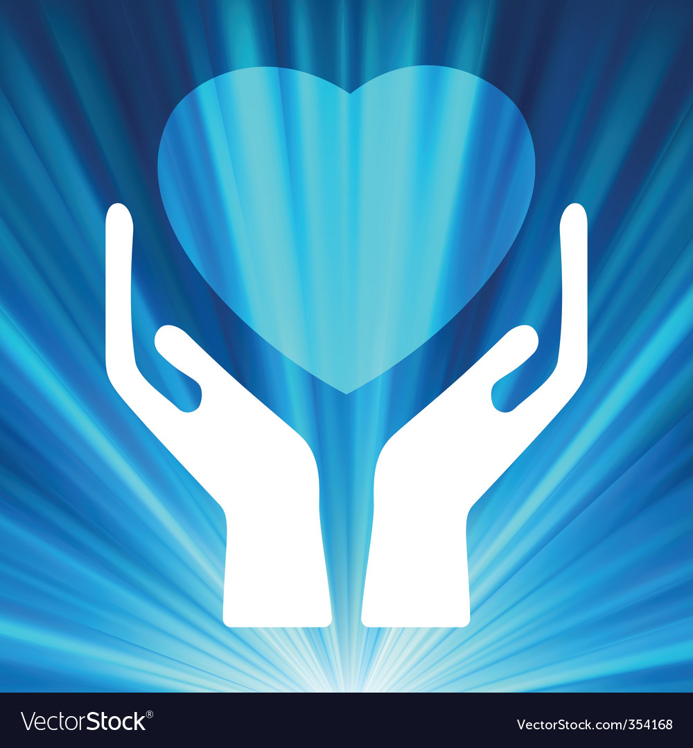 Heart in open hands  vector