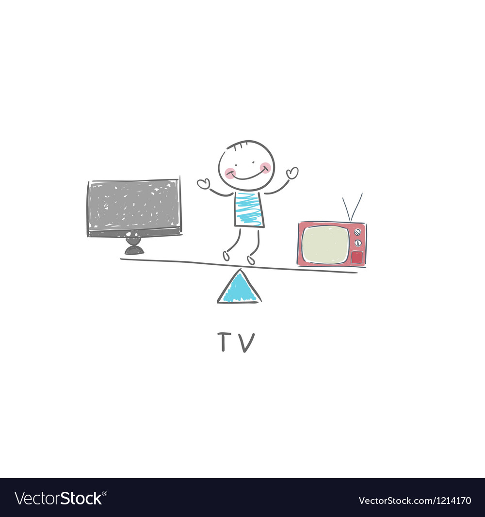 Tv and man vector