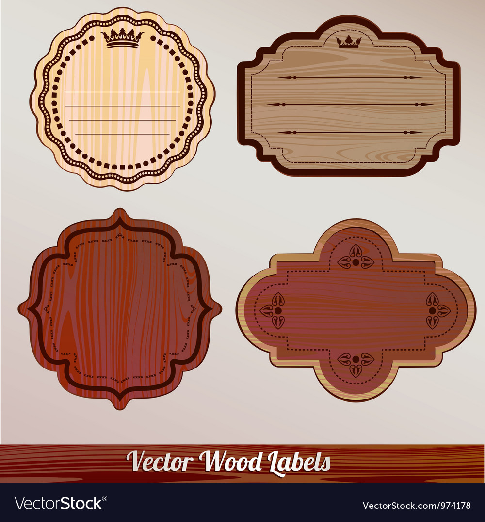 Set wooden labels classic vintage retro vector