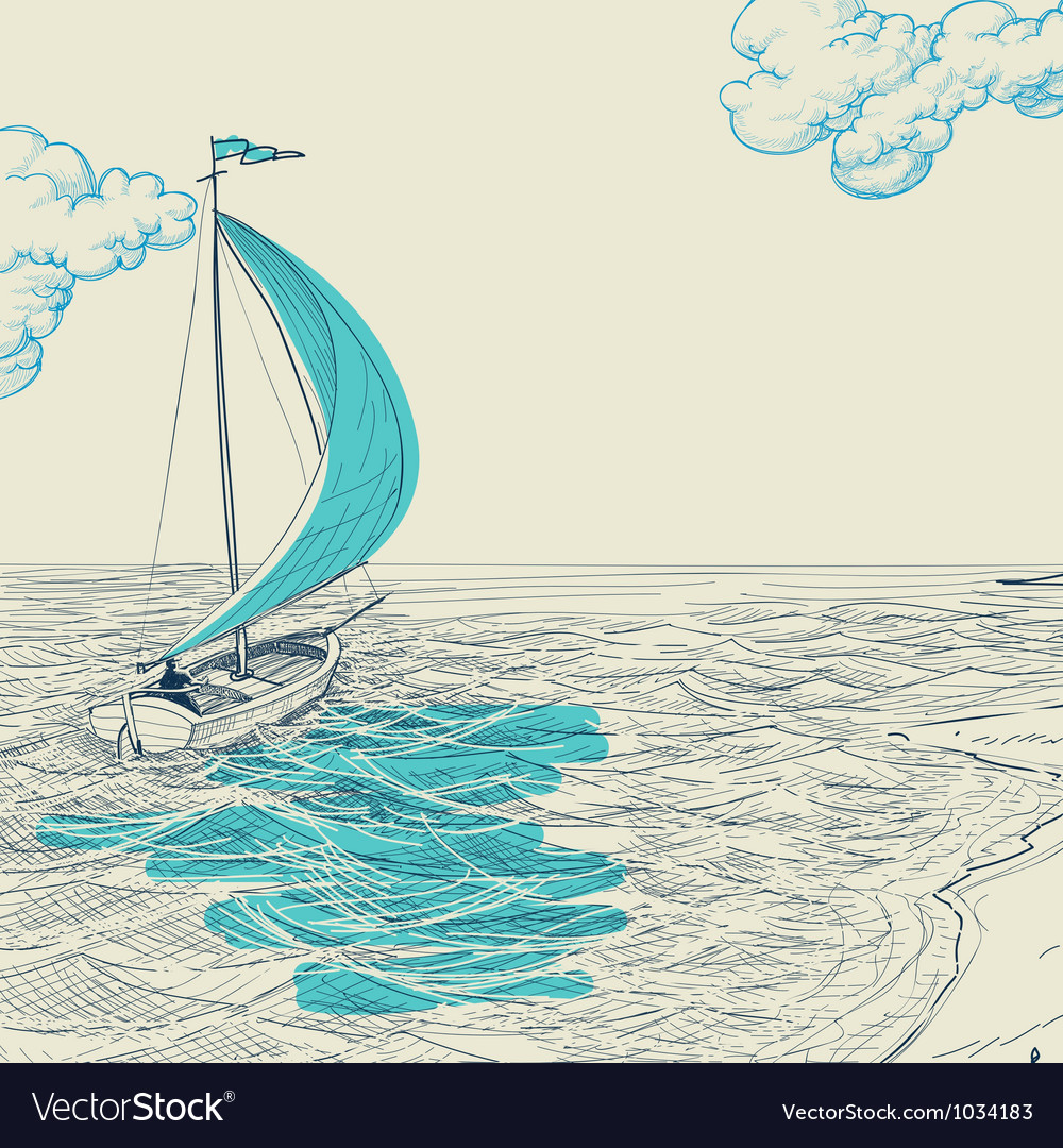Sailing background vector
