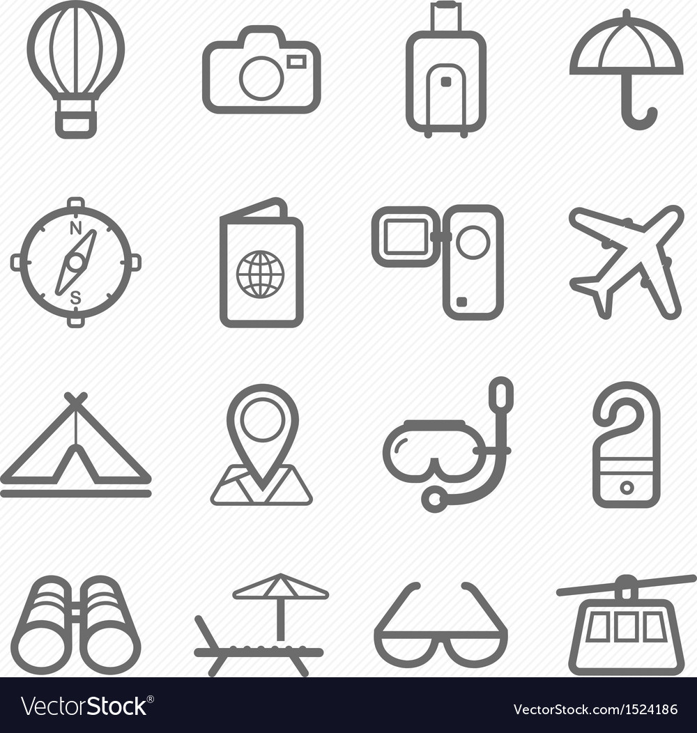 Travel symbol line icon set vector
