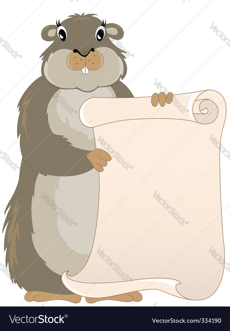 Groundhog with scroll vector