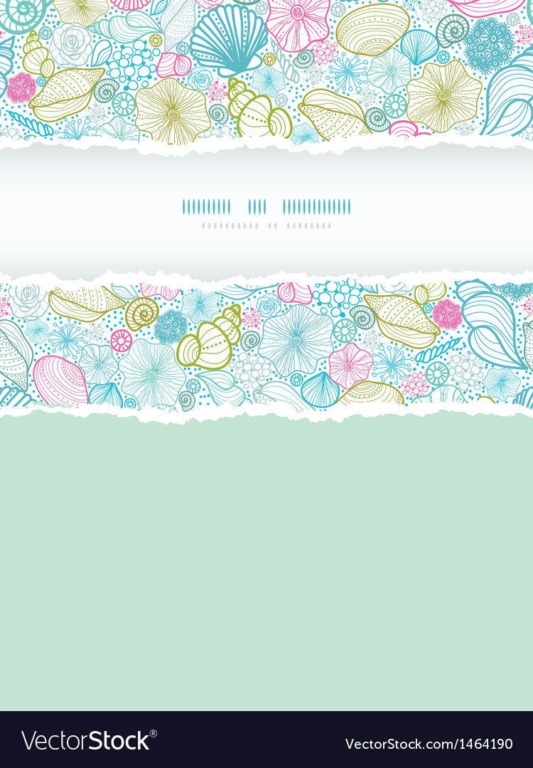 Seashells line art vertical torn frame seamless vector