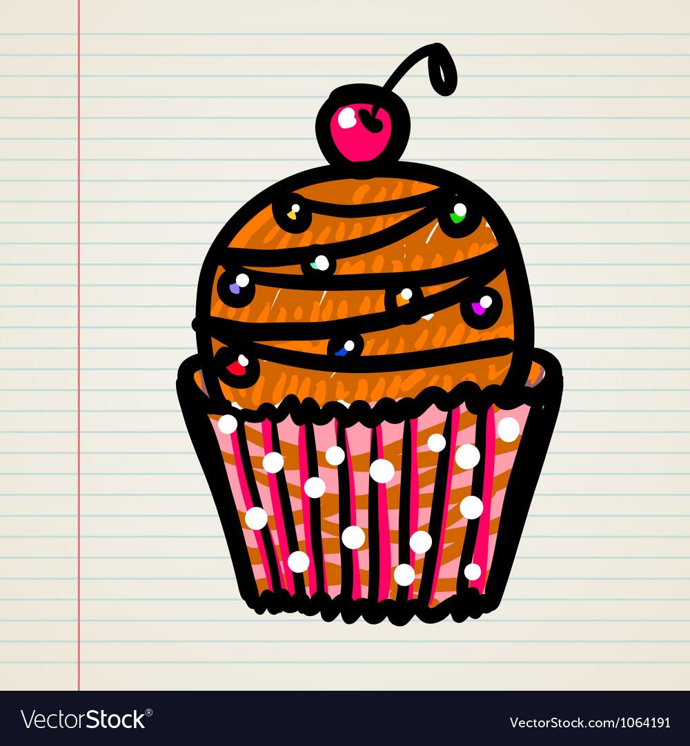 Doodle cupcake vector
