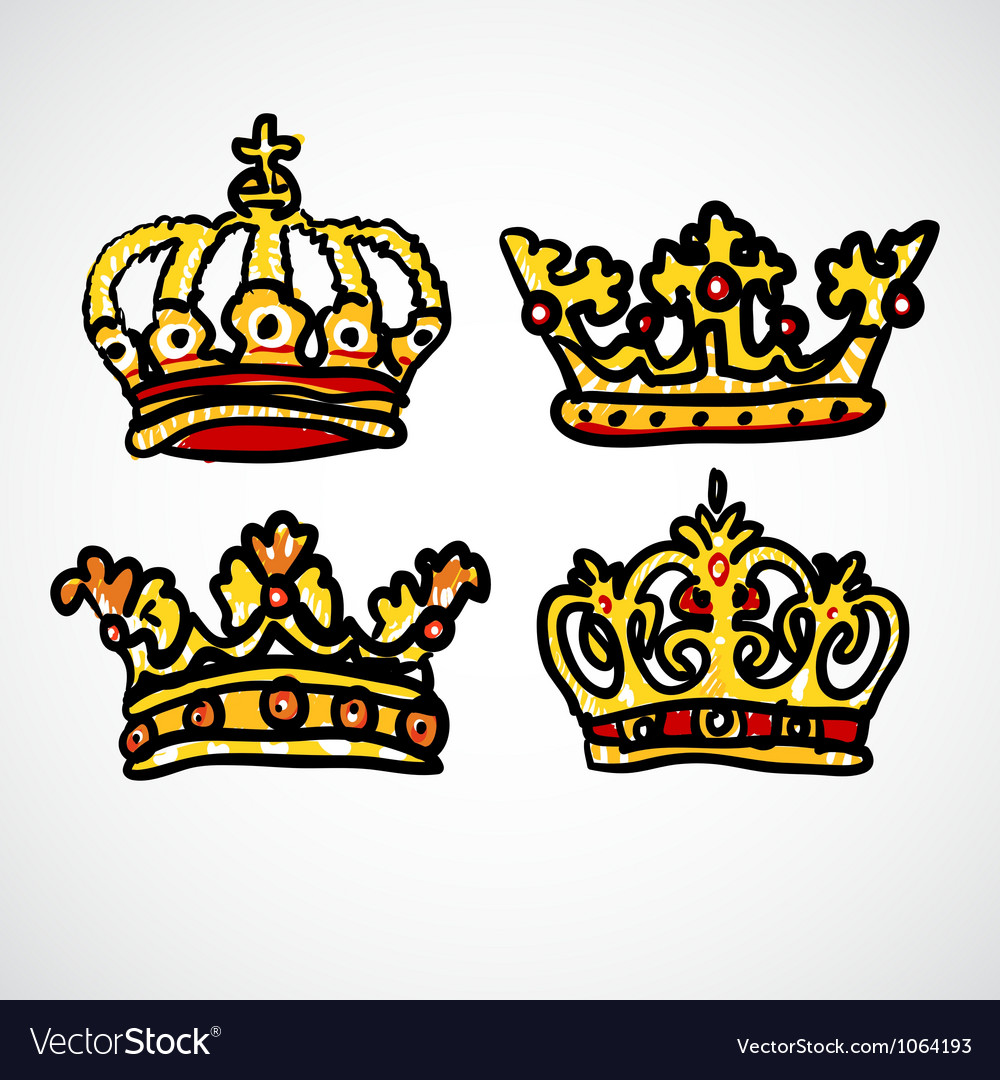 Set of doodle crowns vector