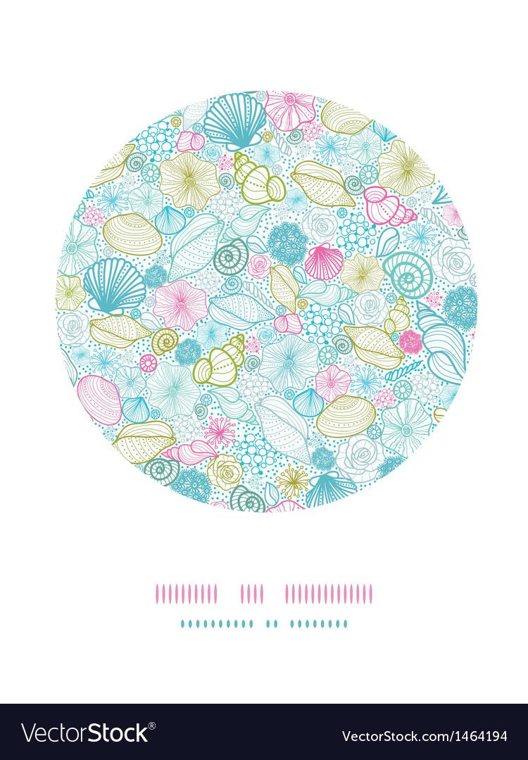 Seashells line art circle decor pattern background vector