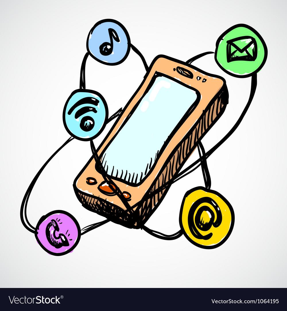 Doodle smartphone concept vector