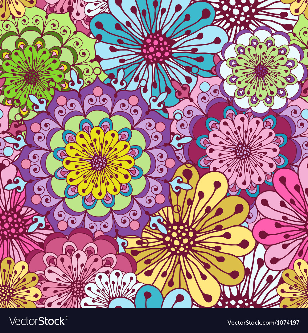 Seamless floral vivid pattern vector