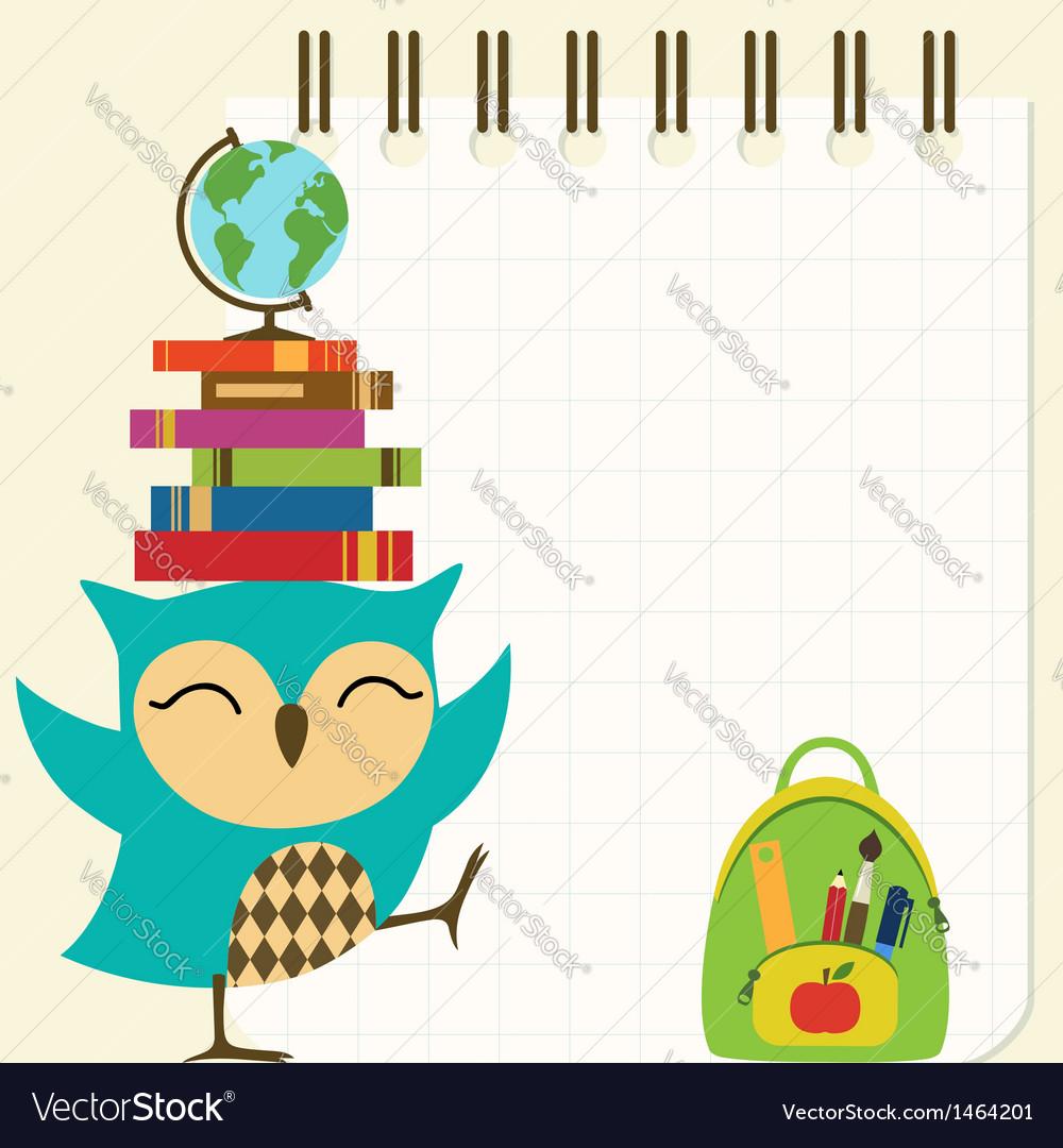 Happy little owl - back to school vector