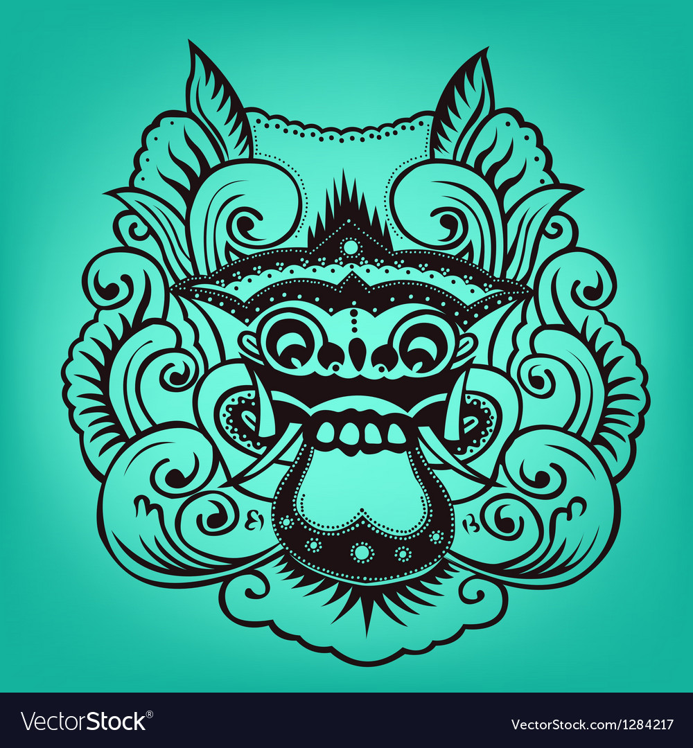 Balinese artwork barong vector