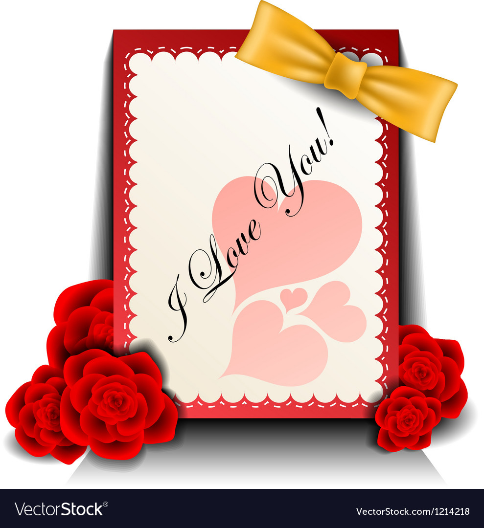 Valentine card with rose vector