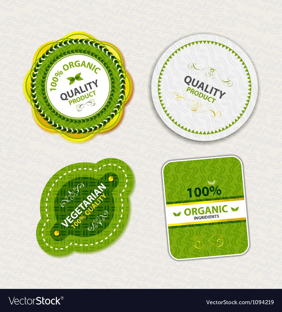 Set of organic food badges and labels vector