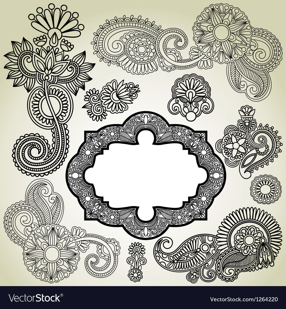 Black flower and frame element vector