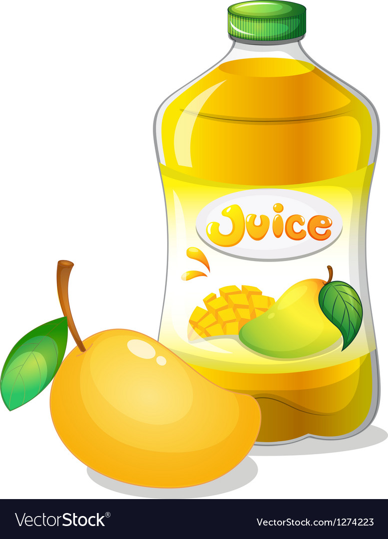 A bottle of mango juice vector